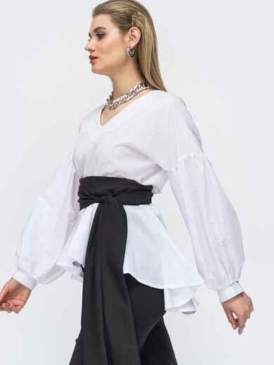 Белая блузка с удлиненной спинкой и резинкой по талии 45692, фото 1