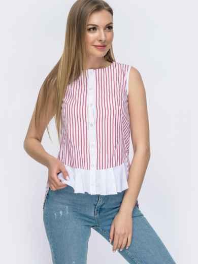 Хлопковая рубашка в полоску с удлинённой спинкой красная 47469, фото 2