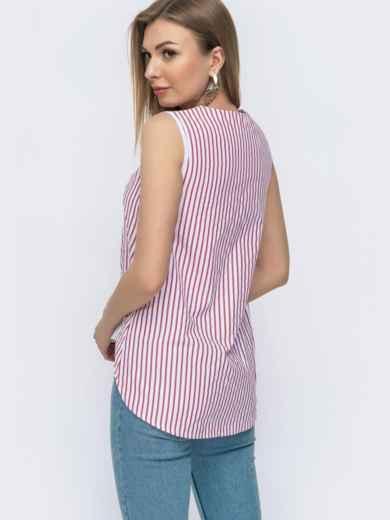 Хлопковая рубашка в полоску с удлинённой спинкой красная 47469, фото 3
