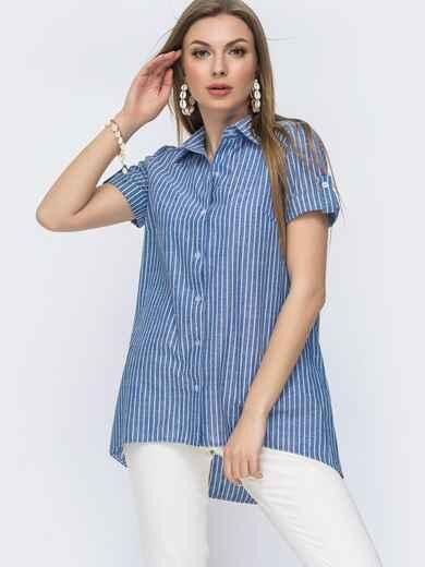 Льняная рубашка в полоску с удлинённой спинкой голубая 47470, фото 1