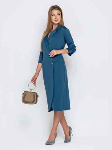 Синее платье-пиджак из джерси с карманами 40804, фото 2