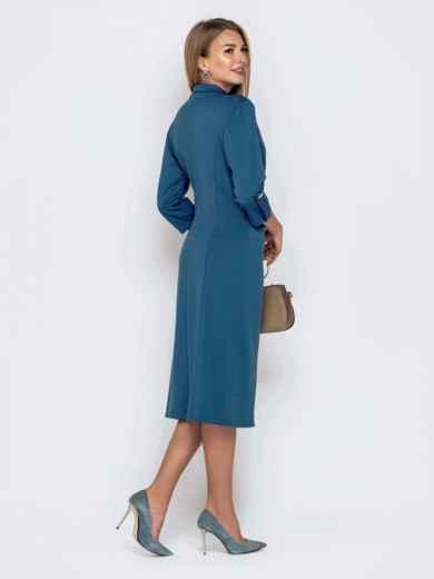 Синее платье-пиджак из джерси с карманами 40804, фото 3