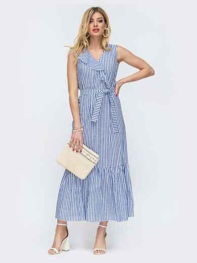 Длинное платье в полоску с оборкой по низу синее 46861, фото 1