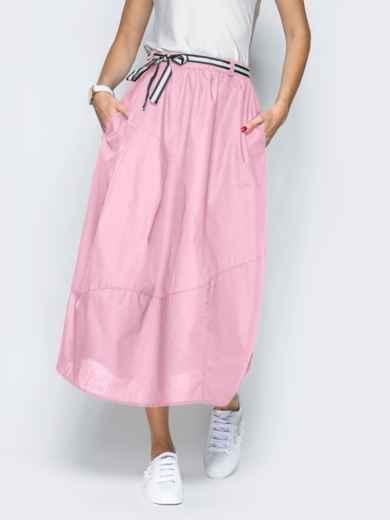 Льняная юбка розового цвета с карманами 39380, фото 2