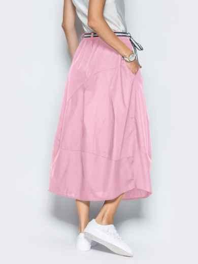 Льняная юбка розового цвета с карманами 39380, фото 3