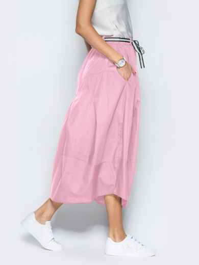 Льняная юбка розового цвета с карманами 39380, фото 4