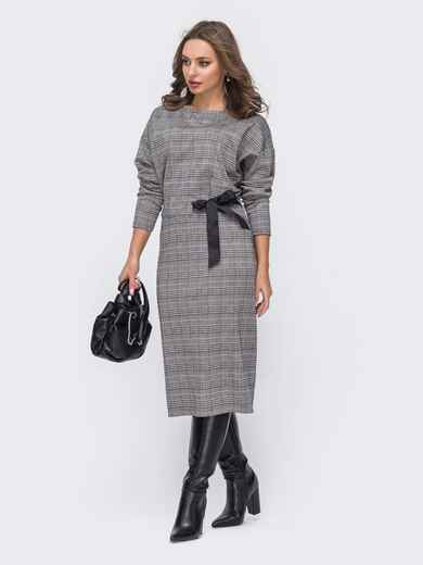 """Приталенное платье в клетку с рукавом """"летучая мышь"""" серое - 51661, фото 1 – интернет-магазин Dressa"""