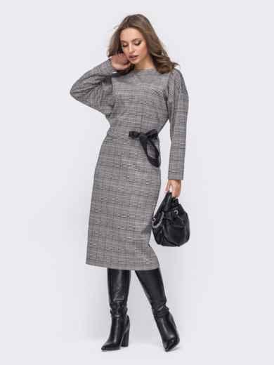 """Приталенное платье в клетку с рукавом """"летучая мышь"""" серое 51661, фото 2"""