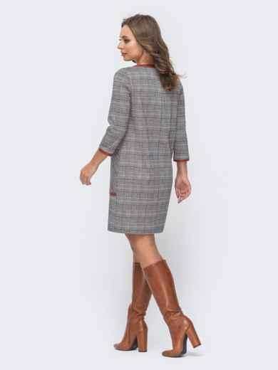 Прямое платье в клетку с контрастной окантовкой серое 51660, фото 3