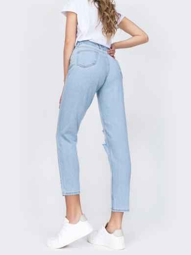 Рваные джинсы светло-голубого цвета 48910, фото 3
