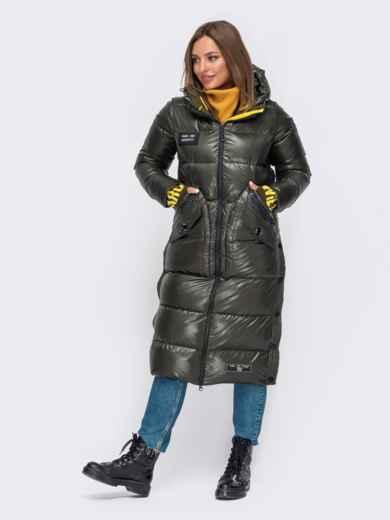 Зимняя куртка цвета хаки с трикотажными манжетами 51055, фото 2