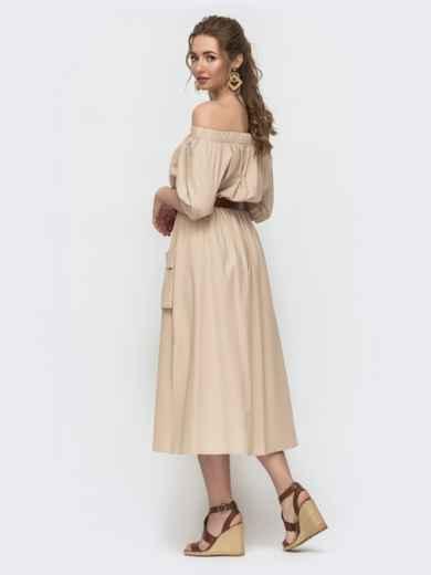 Бежевое платье с открытыми плечами и объемными карманами 49795, фото 2