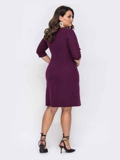 Приталенное платье-миди большого размера бордовое 49876, фото 2