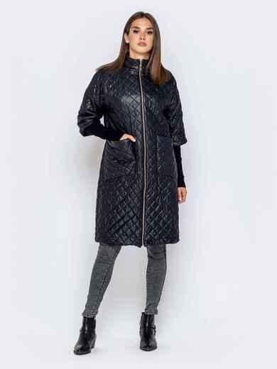 Стёганая куртка черного цвета с накладными карманами - 40193, фото 1 – интернет-магазин Dressa