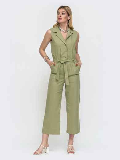 Зеленый комбинезон с лацканами и укороченными брюками 48457, фото 2