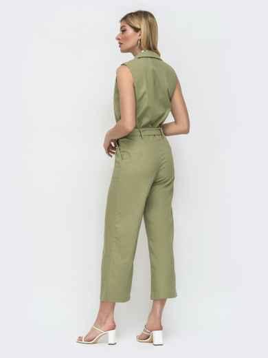 Зеленый комбинезон с лацканами и укороченными брюками 48457, фото 3