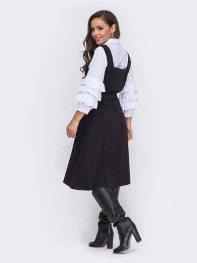 Черный сарафан с карманами по бокам 51056, фото 2