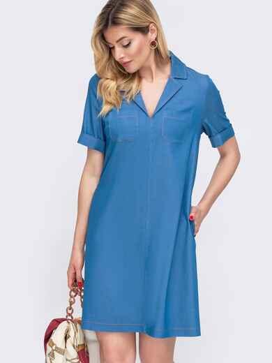 Платье-трапеция из джинса голубого цвета 48177, фото 1