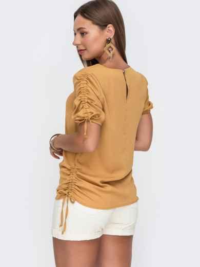 Желтая блузка прямого кроя с кулиской по бокам 49115, фото 3