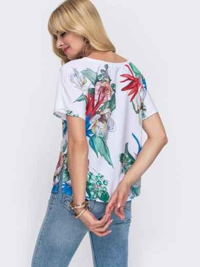 Белая блузка свободного кроя с принтом 49318, фото 3