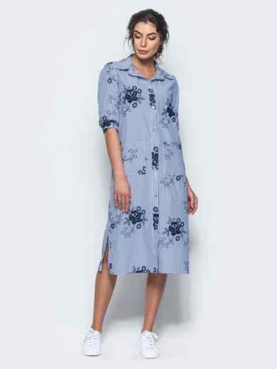 Хлопковое синее платье-рубашка с вышивкой 12537, фото 2