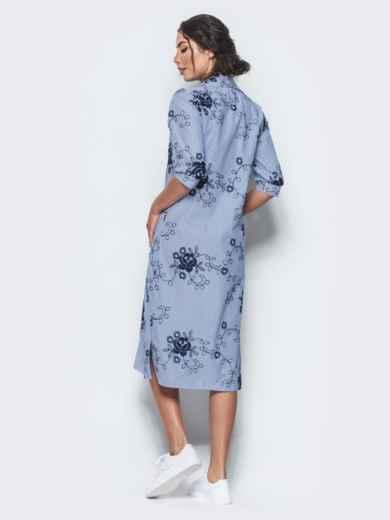 Хлопковое синее платье-рубашка с вышивкой 12537, фото 3