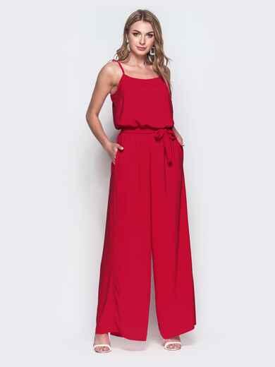 Комбинезон с брюками-палаццо и напуском по талии красный 38757, фото 1