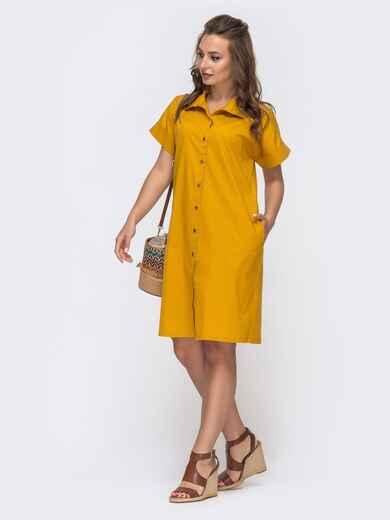 Платье-рубашка из хлопка желтого цвета - 48517, фото 1 – интернет-магазин Dressa