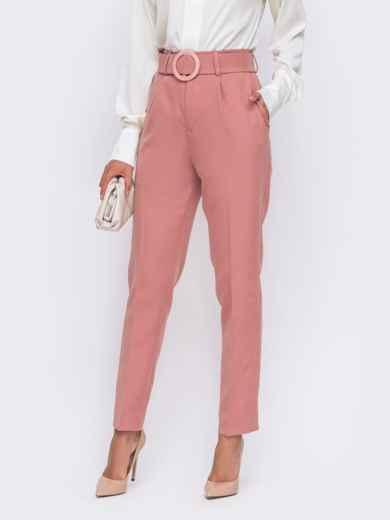 Розовые брюки с высокой посадкой и поясом в комплекте  50084, фото 2