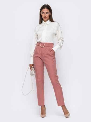 Розовые брюки с высокой посадкой и поясом в комплекте  50084, фото 4