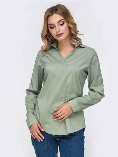 Зелёная блузка приталенного кроя со шлевками на рукавах 42337, фото 1