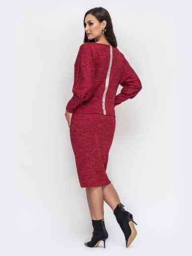 Красный комплект большого размера из кофты и юбки 44488, фото 2