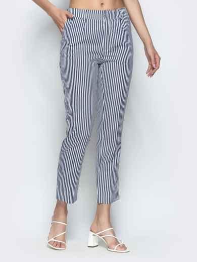 Укороченные брюки в полоску чёрные 39520, фото 1