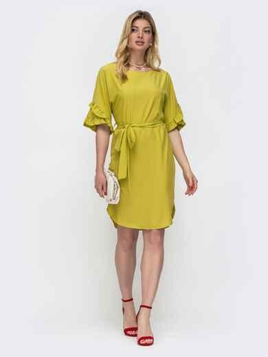 Зелёное платье прямого кроя с рюшами на рукавах 48580, фото 1