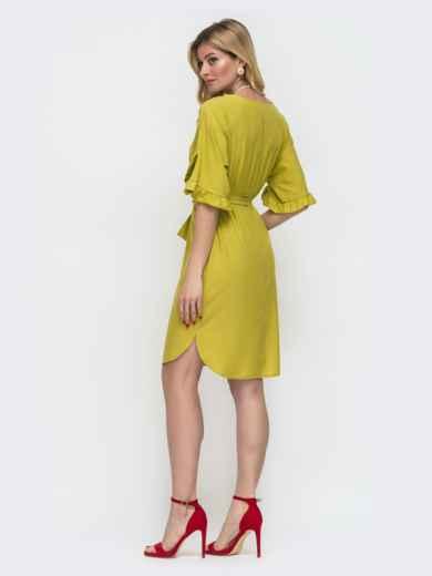 Зелёное платье прямого кроя с рюшами на рукавах 48580, фото 2