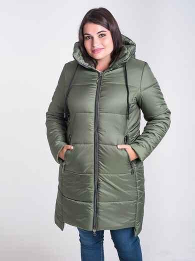 Зимняя куртка цвета хаки из плащёвки с капюшоном 17716, фото 1