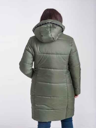Зимняя куртка цвета хаки из плащёвки с капюшоном 17716, фото 2