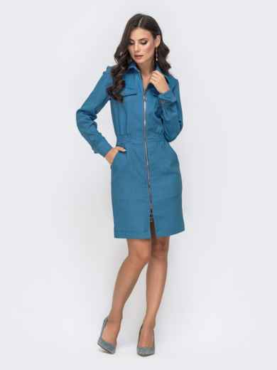 Платье с резинкой по талии и молнией голубое 41401, фото 2