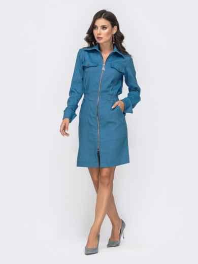 Платье с резинкой по талии и молнией голубое 41401, фото 3