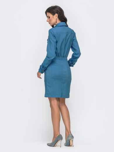 Платье с резинкой по талии и молнией голубое 41401, фото 4