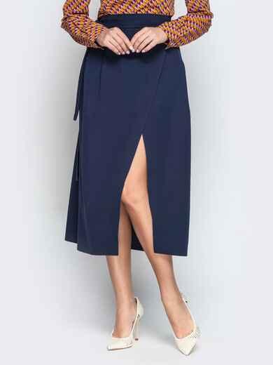 Тёмно-синяя юбка-миди с запахом 20946, фото 1