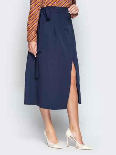 Тёмно-синяя юбка-миди с запахом 20946, фото 2