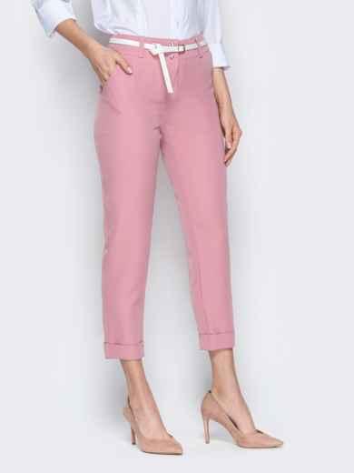 Укороченные брюки розового цвета с подворотами 20941, фото 2