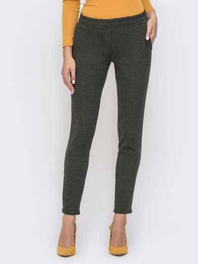 Укороченные брюки с принтом и резинкой по талии хаки 41525, фото 2