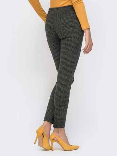 Укороченные брюки с принтом и резинкой по талии хаки 41525, фото 3
