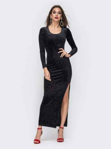 Бархатное платье-макси с напылением и разрезом чёрное 42816, фото 2