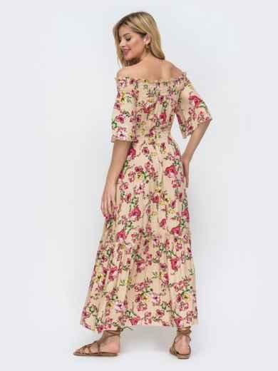 Бежевое платье с принтом и открытыми плечами 46855, фото 3