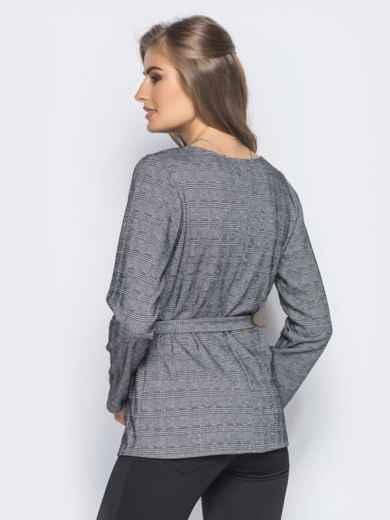 Блузка со складками на горловине и поясом в комплекте 16292, фото 2