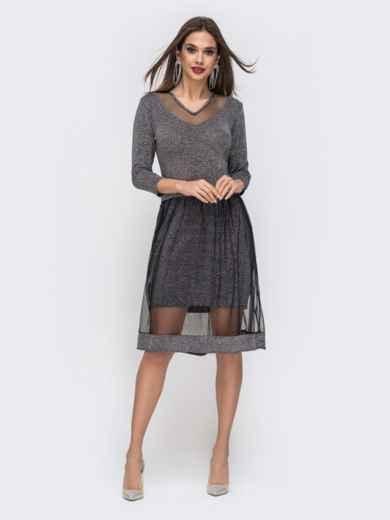 Чёрное платье с люрексом и двойной юбкой 42824, фото 2