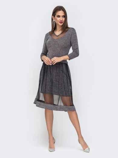 Чёрное платье с люрексом и двойной юбкой 42824, фото 3